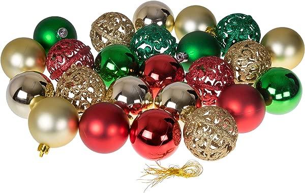 聪明的创作圣诞装饰品球设置金色,红色和绿色 24 包节日节日 D Cor 闪光光泽镜球和漩涡纹理防摔衣架包括 60毫米