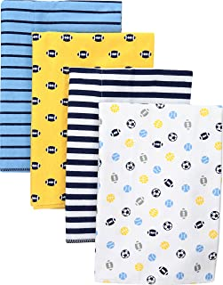 "Gerber Baby Boys' 4-Pack Flannel Burp Cloth, multisport, 20"" x 14"""
