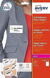 AVERY - Pochette de 240 badges autocollants imprimables pour textile, En soie d'acétate blanche, Format 75 x 40 mm, Impres...