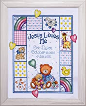 Tobin T21730 14 Count Jesus Loves Me Sampler Counted Cross Stitch Kit, 11 by 14-Inch