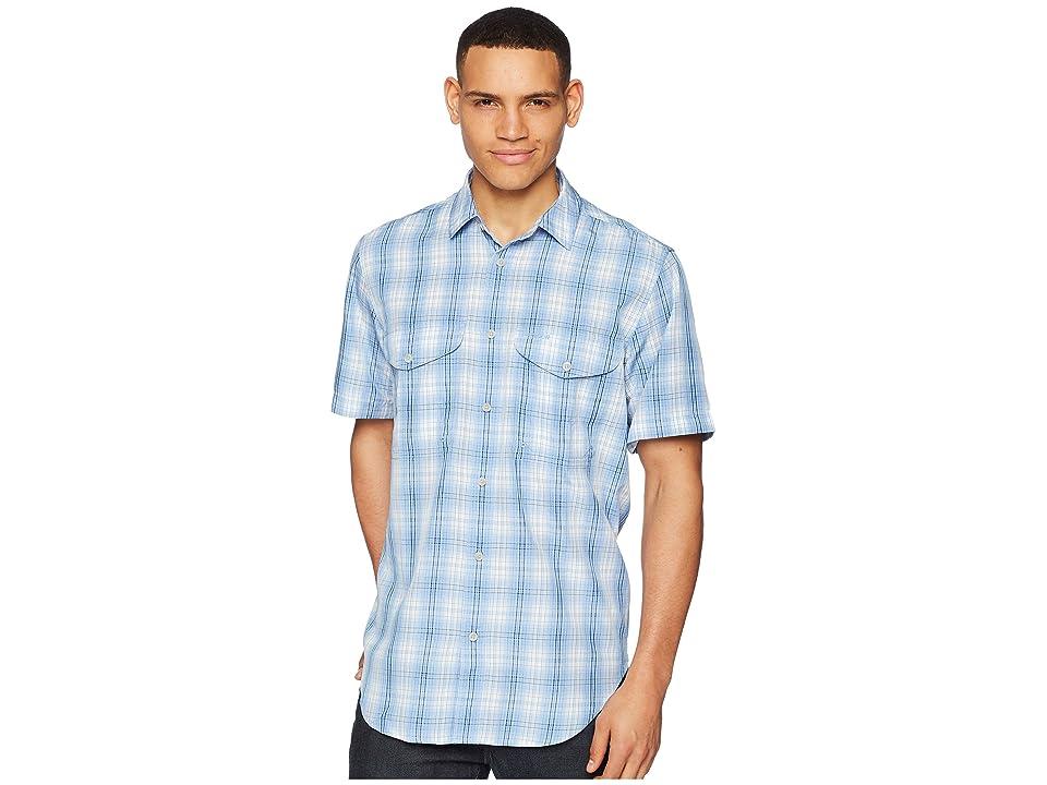 Filson Twin Lakes Sport Short Sleeve Shirt (Sky/Ivory/Navy) Men