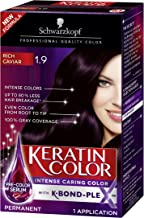Schwarzkopf Keratin Color Permanent Hair Color Cream, 1.9 Rich Caviar(Packaging May Vary)