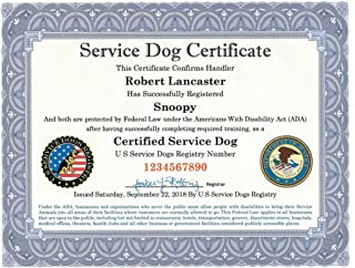 Certified Service Dog Certificate with Leather Presentation Folder | Fully Customized with Handler/Dog Information | Includes Free Registration at U S Service Dogs Registry
