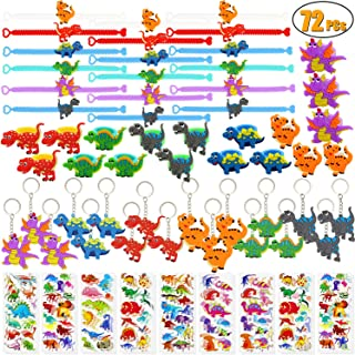 72 PCs Dinosaur Party Favors Dinosaur Bracelets Rings Keychains Stickers Toys Prizes Gift Carnivals for Kids Boys Birthday...