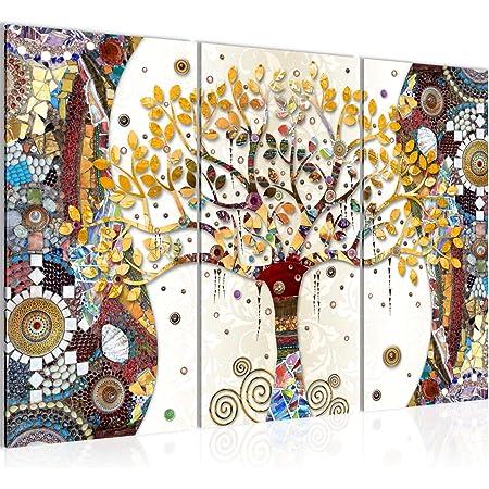 Runa Art Klimt L'Arbre De Vie Peinture Tableau Salon XXL Coloré Abstrait Arbre 120 x 80 cm 3 Parties Decoracion Murale 004631a