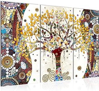 Runa Art Klimt L'Arbre De Vie Peinture Tableau Salon XXL Coloré Abstrait Arbre 120 x 80 cm 3 Parties Decoracion Murale 004...