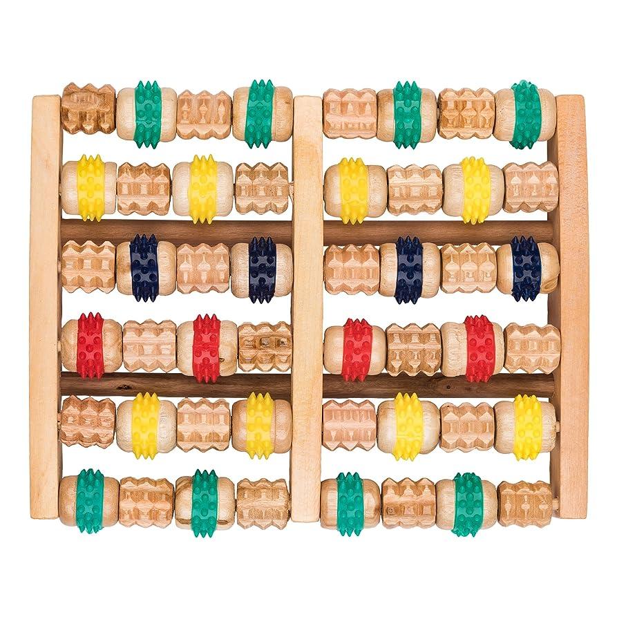 収束活性化する革命的竹マッサージャー 足底ポイントマッサージャー 天然木製カラー 6列足底マッサージャー フットミニマッサージャー 家庭用木製フットバスマッサージャー