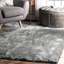 nuLOOM Cloud Faux Sheepskin Soft & Plush Shag Rug, 5' Square, Grey