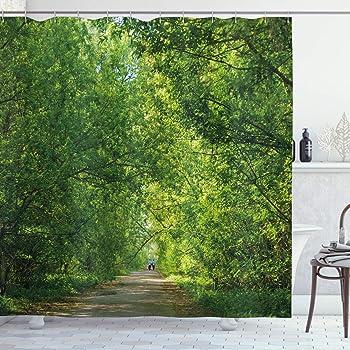 ABAKUHAUS Selva Cortina de Ba/ño 175 x 200 cm Palmeras y Plantas Ex/óticas en Selva Tropical Naturaleza Salvaje Tema Zen Ilustraci/ón Material Resistente al Agua Durable Estampa Digital Verde