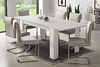 Dmora Table Extensible Moderne Blanc 160 x 79,5 x 88 cm, jusqu'à 220 cm avec rallonge, Chêne, 160x79 cm
