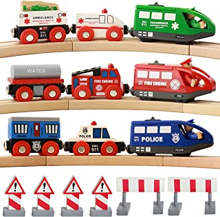 On Track USA Wooden Train Set Battery Operated Action Rescue Trains Includes 3 Magnetic Motorized Engines and 6 Cars, Compatible with Wooden Train Tracks From All Major Brands (Batteries Not Included)
