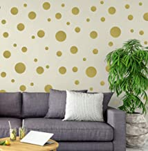 Create-A-Mural Polka Dot Wall Stickers, Wall Decor Stickers, Wall Dots, Vinyl Circle Room Dot Decals (Gold)