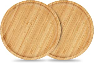 Bamboo Plant Saucer, Suitable for 6-8 inch Plant Pots, 2 Packs Plant Pot Saucers Durable Bamboo Plant Tray for Indoors(20cm)