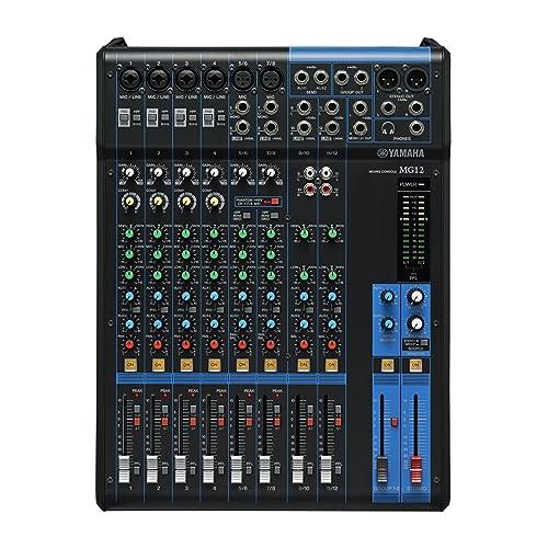 Yamaha MG 12 Mischpult Analog Sound Mixer (12-Kanal, 6x Mic, 2x AUX, XLR)