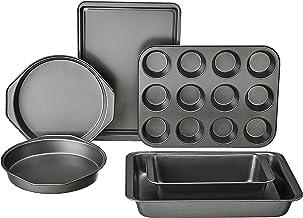 Amazon Basics - Juego de 6 piezas para hornear, color gris