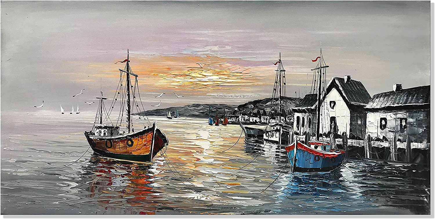 All items free Max 77% OFF shipping zoinart Fishing Boat Wall Paintings 24 x inch 48 Decorative Hand