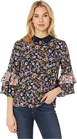 3/4 Sleeve Demure Flora Ruffled Blouse