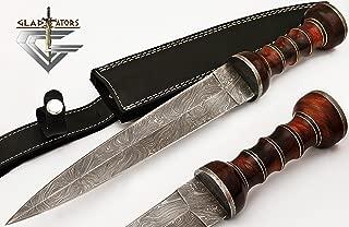 2607 Custom Handmade Damascus Steel Roman Gladius Sword Dagger knife Short Sword Red Wood Handle ( Replica ) by GladiatorsGuild
