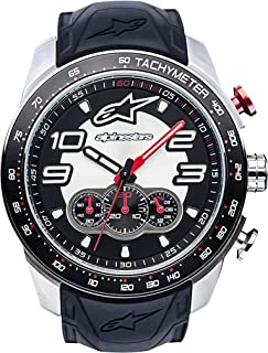 Alpinestars Tech Men's Chronograph Watch, Analog Chrono 45 MM Stainless Steel case, 100 Meters Water Resistant, Japanese Movement, Integrated Durable Silicone Wristband (Black-Steel)
