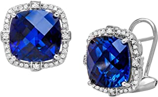12 ct Created Sapphire and 1/5 ct Diamond Stud Leverback Earrings in Sterling Silver