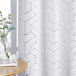 NICETOWN Room Darkening Curtain Panels - Home Fashion Foil Printed Geometric Thermal Insulated Room Darkening Curtains for Bedroom/Nursery (1 Pair, 52 inches W x 95 inches, Greyish White)