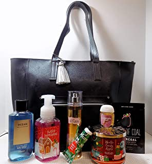 Bath and Body Works 2018 Black Friday Bag Large Black W Attached Tassle Key Chain and 7 Items Valued at $116.70