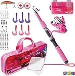Play22 Kids Fishing Pole Pink - 40 Set Kids Fishing Rod...