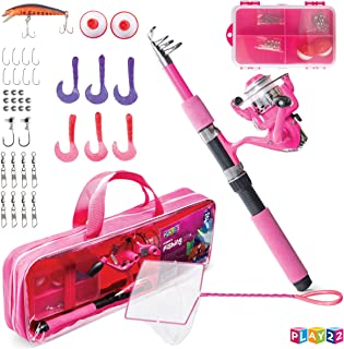 Play22 Kids Fishing Pole Pink - 40 Set Kids Fishing Rod and Reel Combos - Fishing Poles for Youth Kids Includes Fishing Ta...