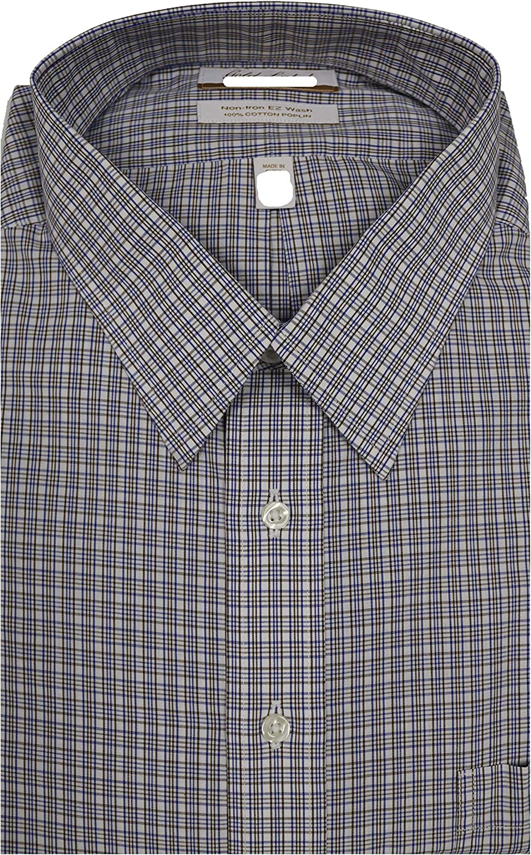 Gold Label Roundtree & Yorke Non-Iron Regular Point Collar Plaid Dress Shirt F85DG113 Brown Multi