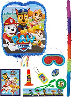 Party City Pull String PAW Patrol Adventures Pinata Supplies with Favors, Puppy Pinata, Pinata Stick, and Blindfold