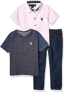 Boys' Little 3 Piece Short Sleeve Woven Shirt, Henley,...