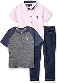 U.S. Polo Assn. Boys' 3 Piece Short Sleeve Woven Shirt, Henley, and Jean Set
