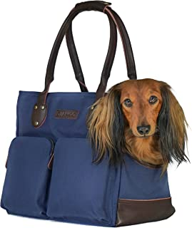 DJANGO Dog Carry Bag - Waxed Canvas and Leather Soft-Sided Pet Travel Tote with Bag-to-Harness Safety Tether & Secure Zipper Pockets
