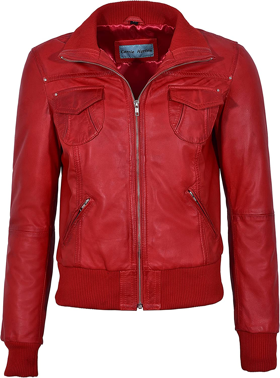 FUSION' Ladies Red WASHED Short Bomber Biker Motorcycle Style Leather Jacket