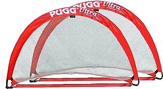 PUGG – Ultra Q5 Vikta popup fotbollsmål – bärbar träning fotbollsnät – par (röd)