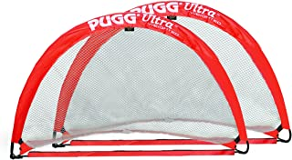 PUGG - Ultra Q5 Weighted Pop Up Soccer Goal - Portable Training Football Net - Pair (Red)