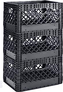"Muscle Rack PMK24QTB-3 24 Quart 3 Pack Black Heavy Duty Rectangular Stackable Dairy Milk Crates, 11"" Height, 19"" Width"
