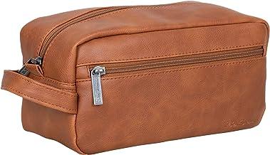Ben Sherman Noak Hill Collection Vegan Leather Toiletry Travel Kit, Cognac, Single Compartment