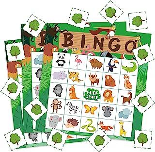 WATINC 41pcs Jungle Animals Bingo Game, Tropical Summer Party Games with 24 Players, Safari Animals Bingo Cards for Kids S...