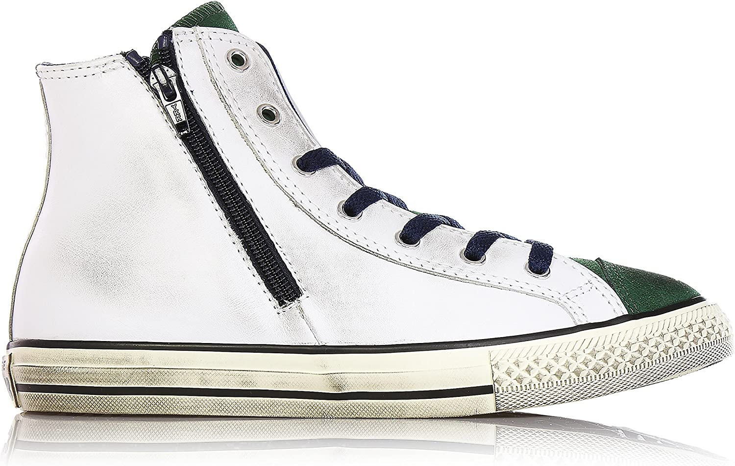 CONVERSE 646383C white pine all star leather hi ct side zip