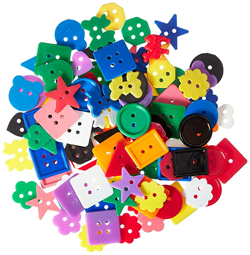 Darice Plastic Kids Buttons, Assorted Colors, Shapes & Sizes. 6oz.(170g)