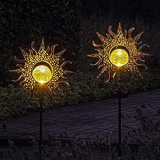 Gadgy Lampy słoneczne na zewnątrz z kolcami do ziemi   Zestaw 2 metalowych kolców ogrodowych LED   Lampy słoneczne do ogro...