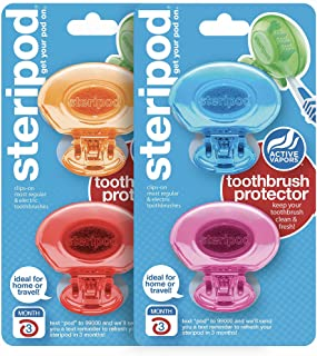 Steripod Clip-On Toothbrush Protectors: Blue, Pink, Red, Orange (4 Total)
