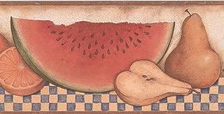 Sliced Apple Pear Peach Watermelon on Table Cracked Beige Wallpaper Border Retro Design, Roll 15' x 5''