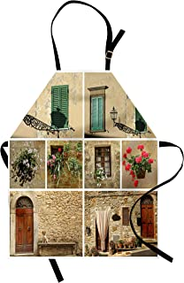 Ambesonne Italian Apron, Pictures of Italian Lifestyle with Old Classic Shutter Window Stone Houses Print, Unisex Kitchen Bib with Adjustable Neck for Cooking Gardening, Adult Size, Pale Beige