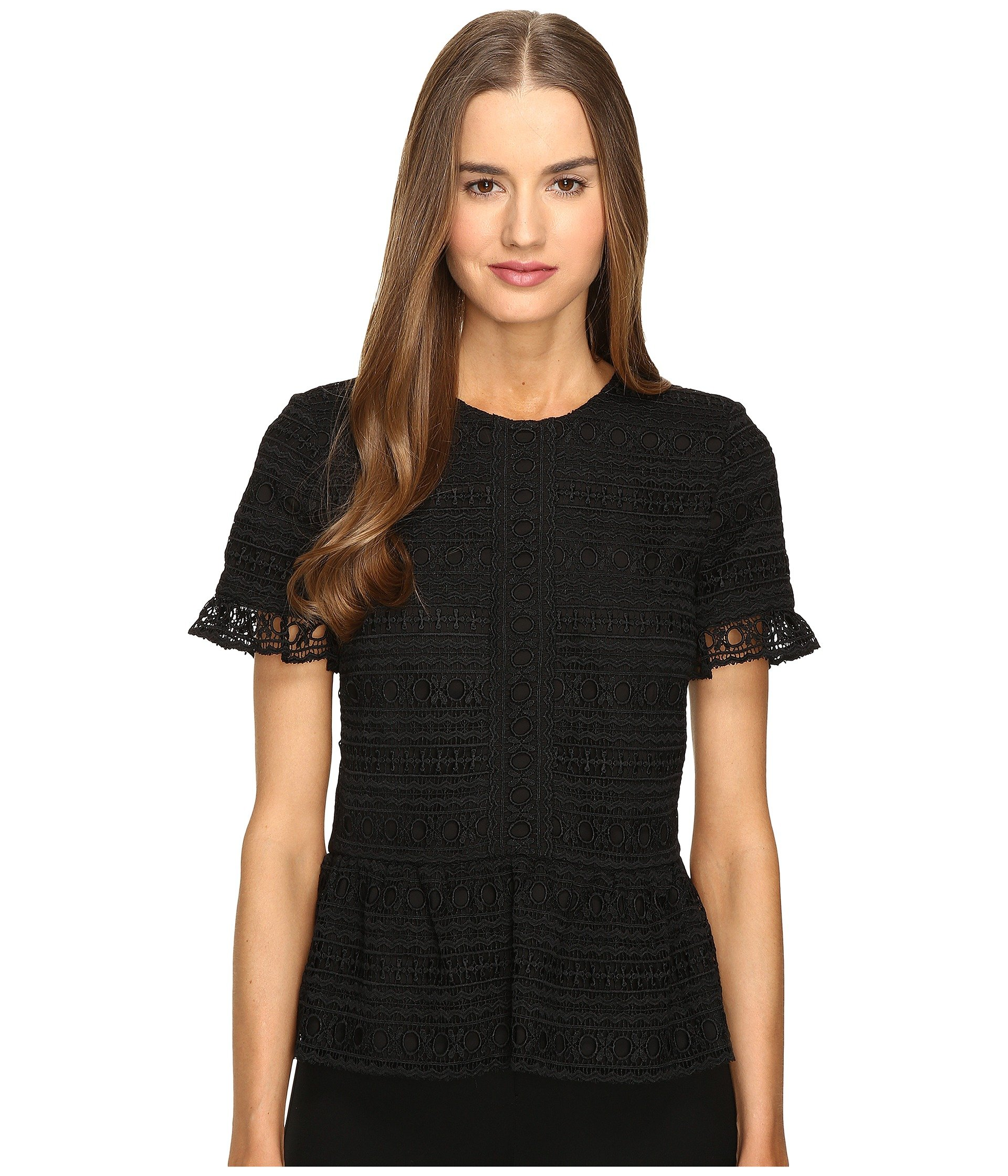 ada75e6acc7532 Kate Spade Mixed Lace Top In Black