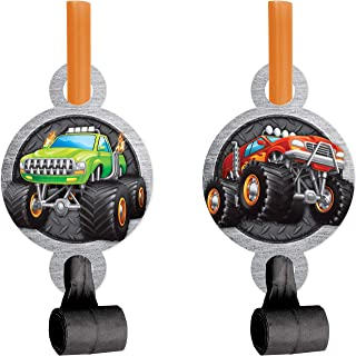 """Creative Converting Monster Truck Party Blowers, 8 ct, 2.5"""" x 5.25"""", Multi-colored"""