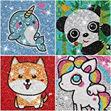 4 Pieces 5D Diamond Painting Kit for Kids Full Drill Painting by Number Kits for Beginners DIY Diamond Rhinestone Art Craf...