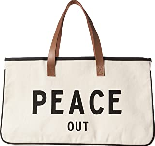 """Santa Barbara Design Studio Hold Everything Tote Bag, 20"""" x 11"""", Peace Out Black and White"""