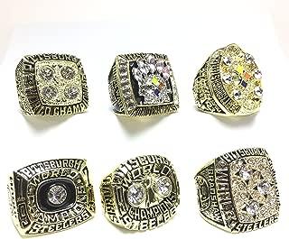 Custom Rings Pittsburgh Steelers Super Bowl 1974 (IX), 1975 (X), 1978 (XIII), 1979 (XIV), 2005 (XL), 2008 (XLIII) Ring Set